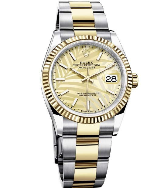 Rolex Oyster Perpetual Datejust 36 Yellow Rolesor version with Golden palm motif dial