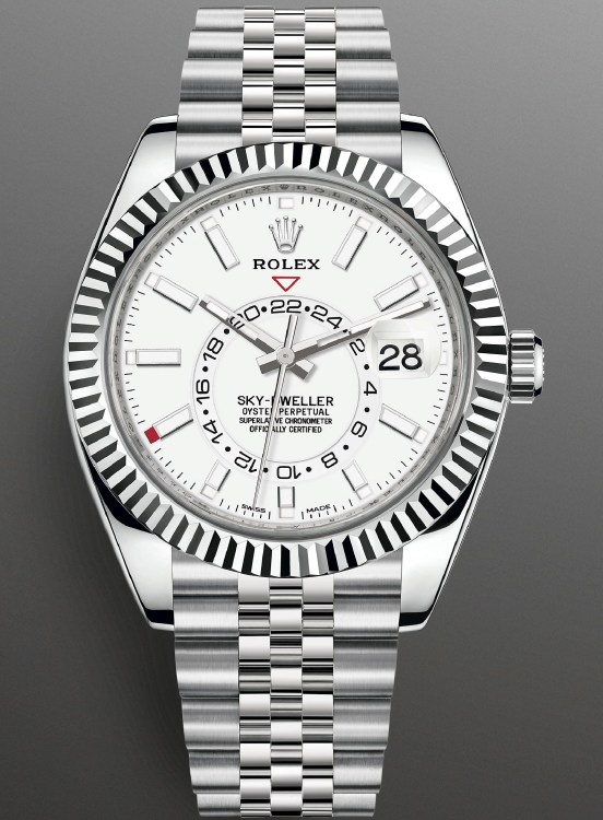 Rolex Sky-Dweller White Rolesor (Oystersteel and white gold) version with an intense white dial and a Jubilee bracelet