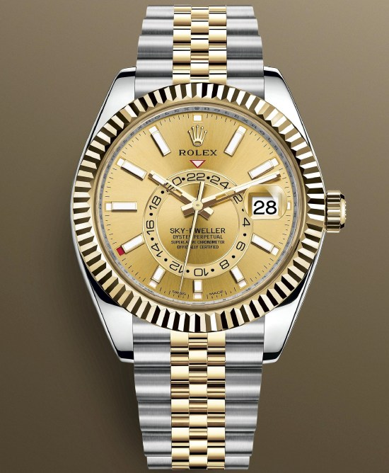 Rolex Sky-Dweller Yellow Rolesor (Oystersteel and yellow gold) version with a champagne-colour dial and a Jubilee bracelet