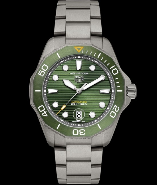 TAG Heuer Aquaracer Professional 300 Calibre 5 Automatic with green sunray-brushed dial