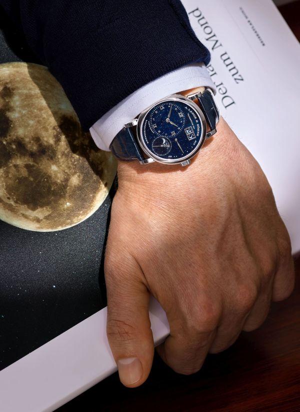 A. Lange & Söhne Little Lange 1 Moon Phase watch wrist shot
