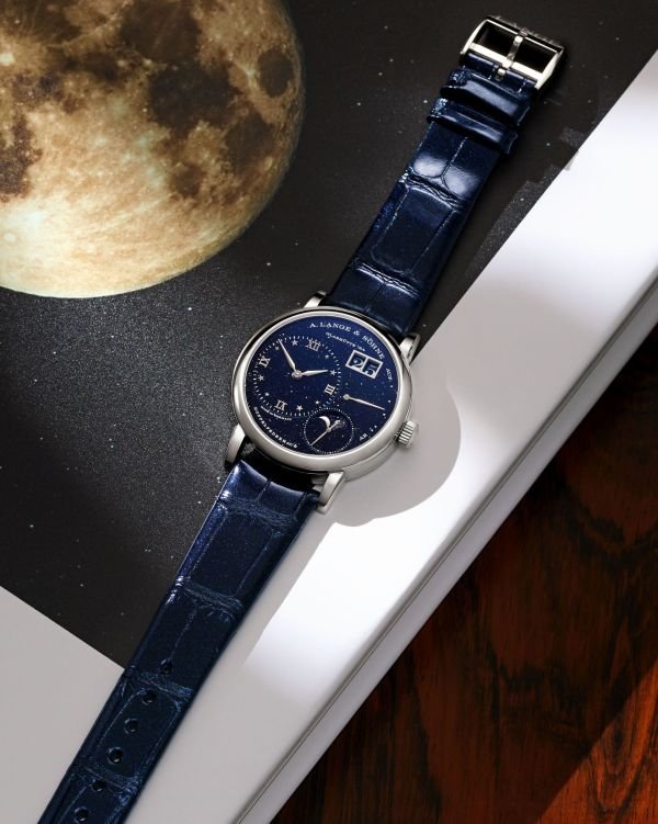 A. Lange & Söhne Little Lange 1 Moon Phase watch with white gold case and blue dial