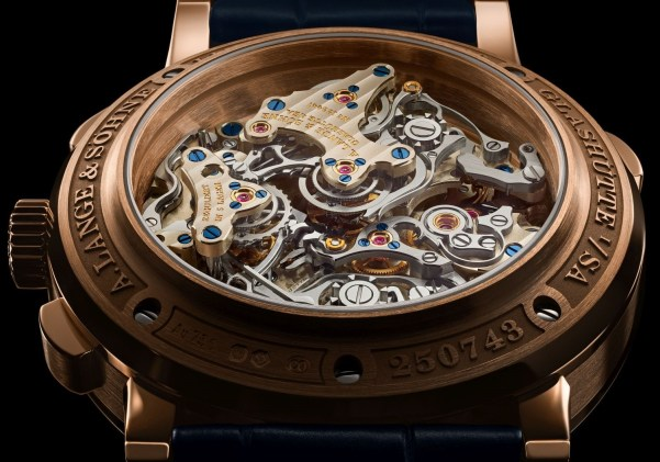 A. Lange & Söhne TRIPLE SPLIT New Model with Pink Gold Case and Blue Dial caseback view
