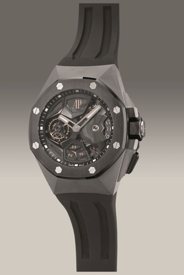 Audemars Piguet Ref. 26589IO.OO.D002CA.01 oversized titanium dual time flying tourbillon wristwatch. Circa 2017. Estimate: HK$ 1,200,000 - 2,000,000