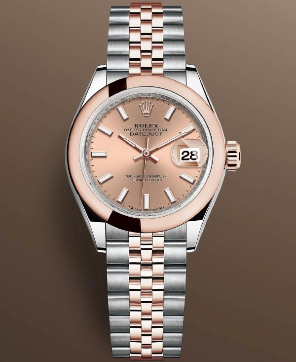 Rolex Lady Datejust Reference 279161-0023: Oystersteel and Everose gold case with domed smooth bezel, Rosé-colour dial with 18-carat gold index hour markers, Jubilee Bracelet.Image copyright@ Rolex
