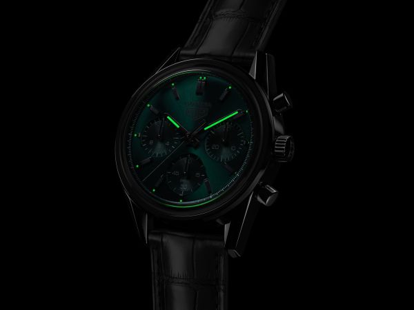 Tag Heuer Carrera Green Special Edition chronograph lume shot