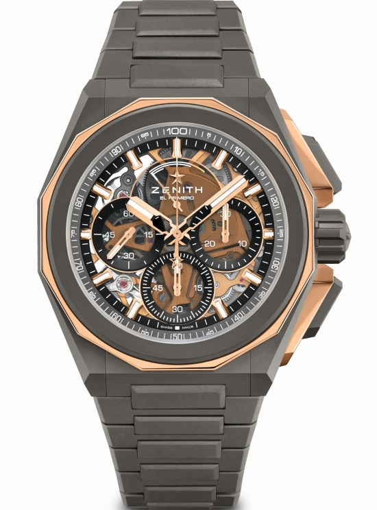 Zenith DEFY EXTREME Chronograph with Microblasted titanium and polished rose gold case and bracelet