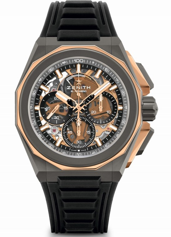 Zenith DEFY EXTREME Chronograph with Microblasted titanium and polished rose gold case and rubber strap