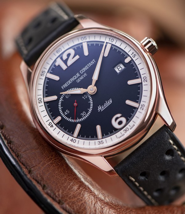 Frederique Constant Vintage Rally Healey Automatic Small Seconds  watch with rose gold plated case and blue dial