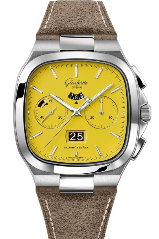 Glashütte Original Seventies Chronograph Panorama Date watch with yellow dial