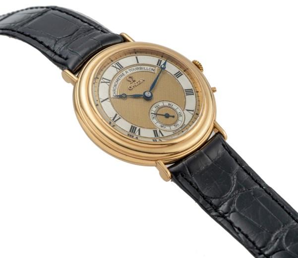 LOT 444: Omega, Chronometre A Tourbillon, Yellow Gold