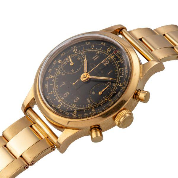"LOT 231: Rolex, Ref. 3525, Black Dial ""Monoblocco"", Yellow Gold"