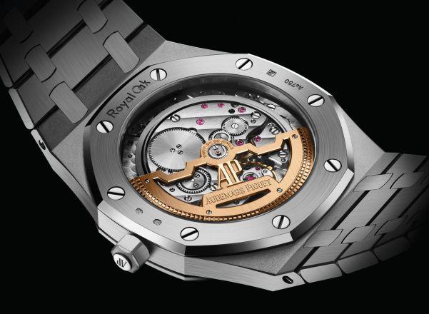 Audemars Piguet Royal Oak Jumbo Extra-Thin watch with Diamond-set White Gold Case and Light blue Petite Tapisserie dial