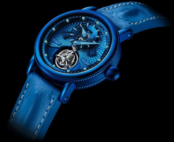 Chronoswiss Open Gear Tourbillon Limited Edition watch with blue CVD case