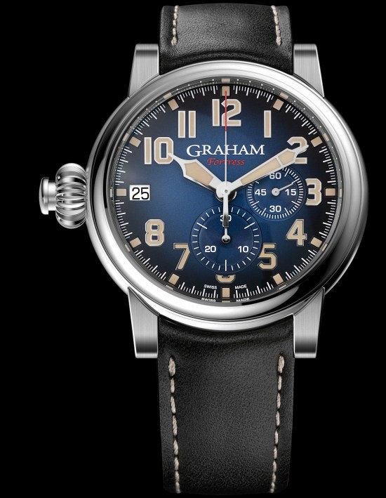 GRAHAM FORTRESS Limited Edition automatic monopusher chronograph with blue dial