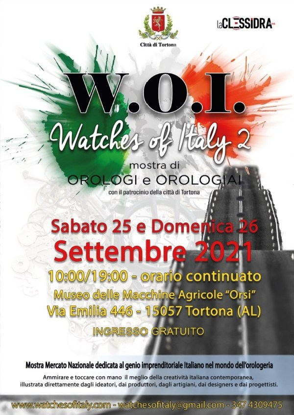 W.O.I. (Watches Of Italy) Exhibition, Second Edition - 25 and 26 September 2021, Museo Orsi, Tortona (AL) Italy