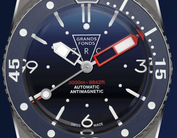 ZRC GRANDS FONDS 3000 watch dial
