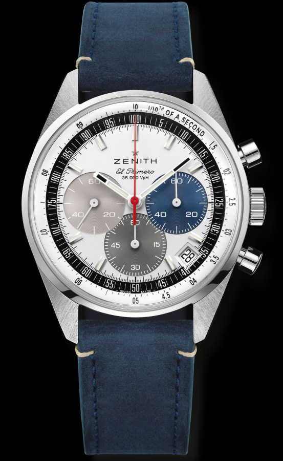 Zenith Chronomaster Original stainless steel model with silver dial and blue calfskin strap