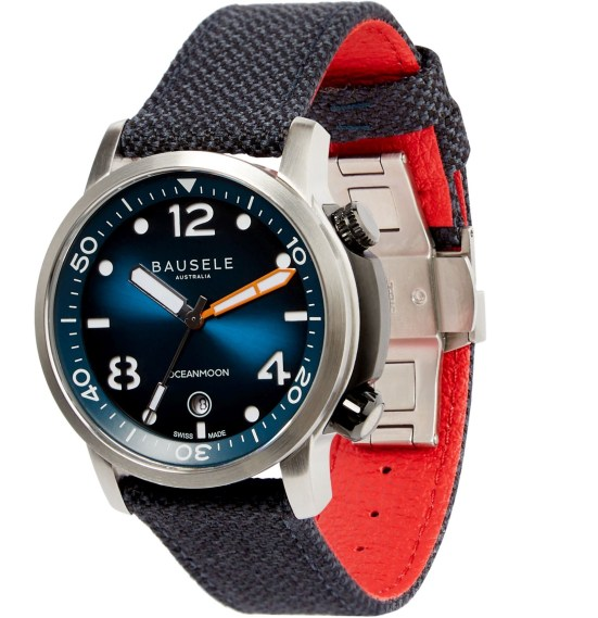 Bausele Ocean Moon IV swiss made automatic dive watch with blue dial
