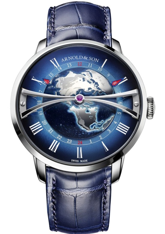 Arnold & Son Globetrotter Steel watch with blue dial