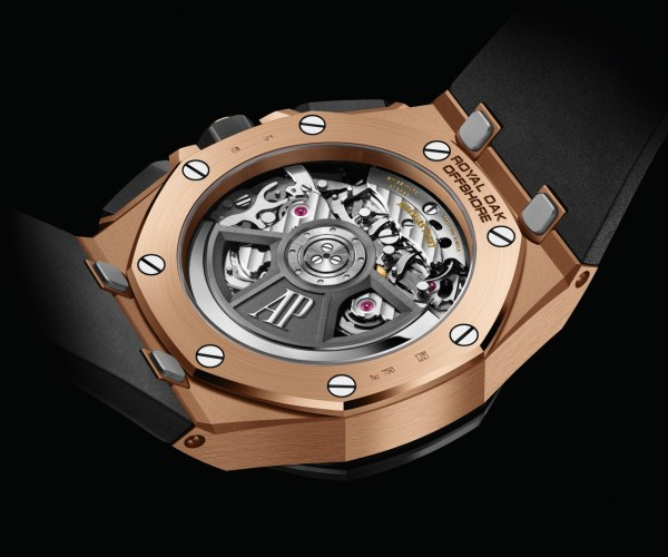 """Audemars Piguet Royal Oak Offshore Self-winding Chronograph 43 mm with 18-carat pink gold case, black ceramic bezel, black dial with """"Méga Tapisserie"""" pattern and rhodium-toned counters"""