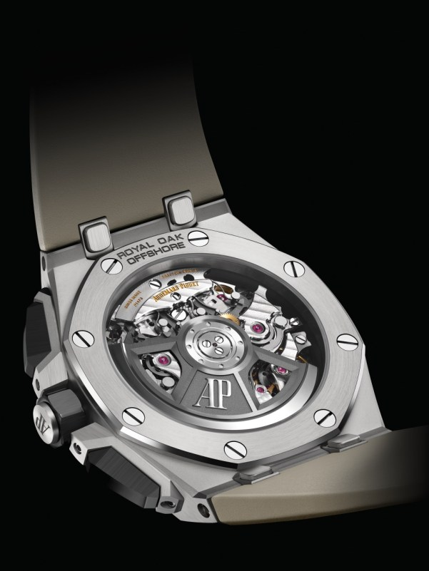"""Audemars Piguet Royal Oak Offshore Self-winding Chronograph 43 mm with stainless steel case, black ceramic bezel Smoked light brown """"Méga Tapisserie"""" pattern dial with black counters"""