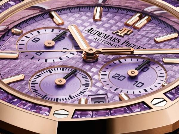 Audemars Piguet Royal Oak Self-winding Chronograph, Pink Gold Version with Amethyst-set Bezel and Purple Dial