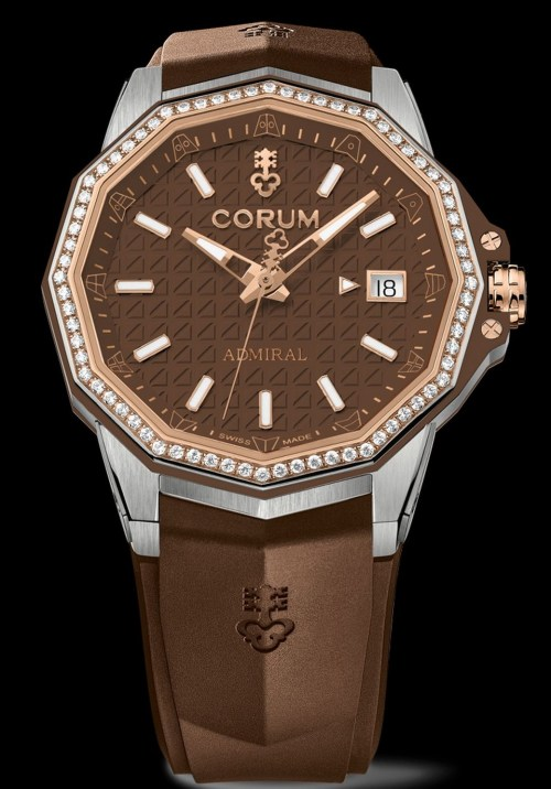 Corum Admiral 38 Automatic New Model with titanium case, brown dial, rose gold crown and bezel, brown rubber strap