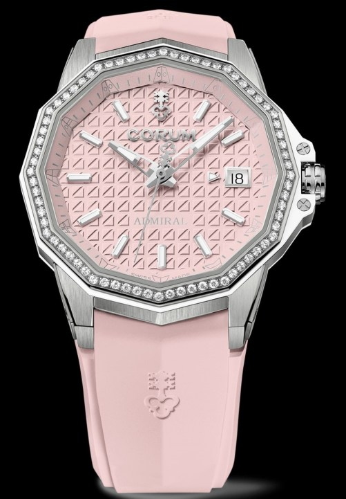 Corum Admiral 38 Automatic New Model with titanium case, diamond-set bezel and pink dial and rubber strap