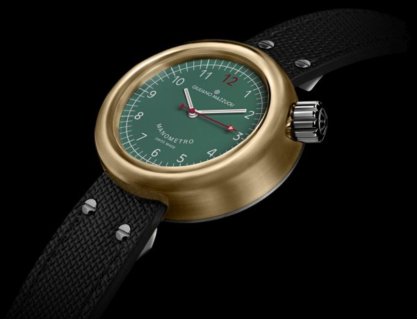 Giuliano Mazzuoli Manometro watch with brushed bronze case and green dial
