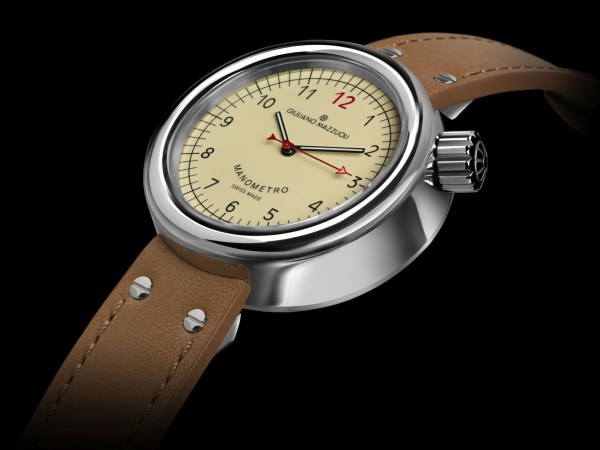 Giuliano Mazzuoli Manometro watch with polished stainless steel case and ivory dial