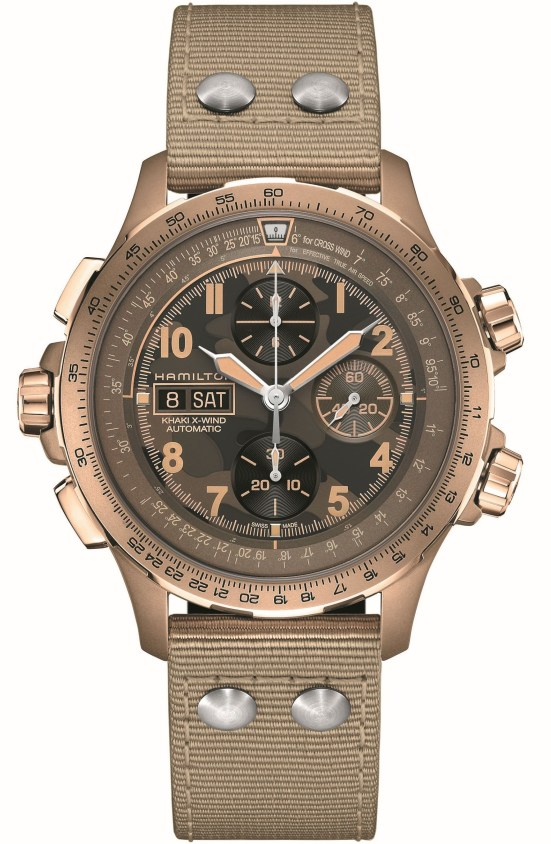 Hamilton Khaki Aviation X-Wind Automatic Chronograph with stainless steel sandstorm beige PVD case and brown camouflage dial