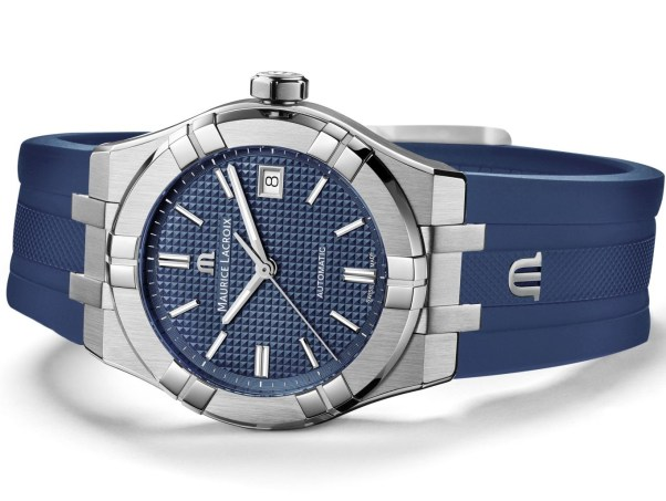 Maurice Lacroix Aikon Automatic New Version with blue dial and fkm rubber strap