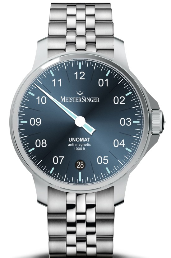 MeisterSinger Unomat watch with blue dial