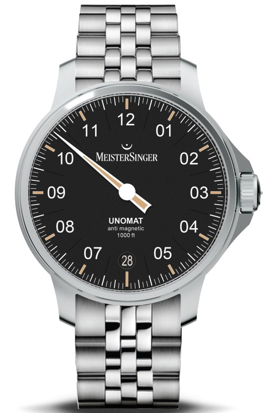 MeisterSinger Unomat watch with black dial