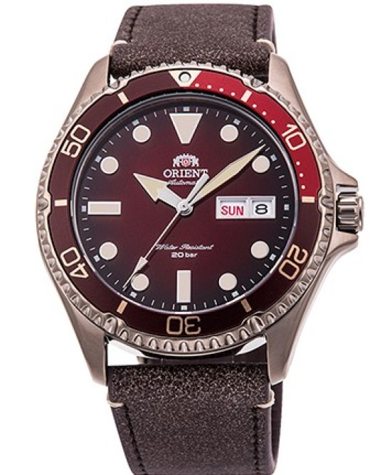 ORIENT Sports Diver Design Model RA-AA0813R: Bronze coloured stainless steel version with burgundy gradient dial and brown leather strap, Limited edition of 2,000 pieces