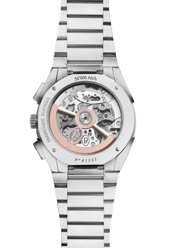 Parmigiani Fleurier Tonda PF Chronograph with polished and satin-finished medical stainless steel with platinum 950 hand-knurled bezel