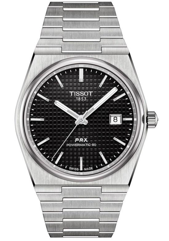 Tissot PRX Powermatic 80 watch with black dial