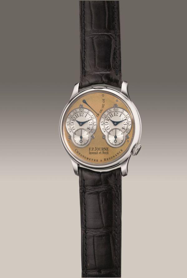 F.P. Journe Chronomètre à Resonance, platinum dual time wristwatch with double escapement, power reserve indication