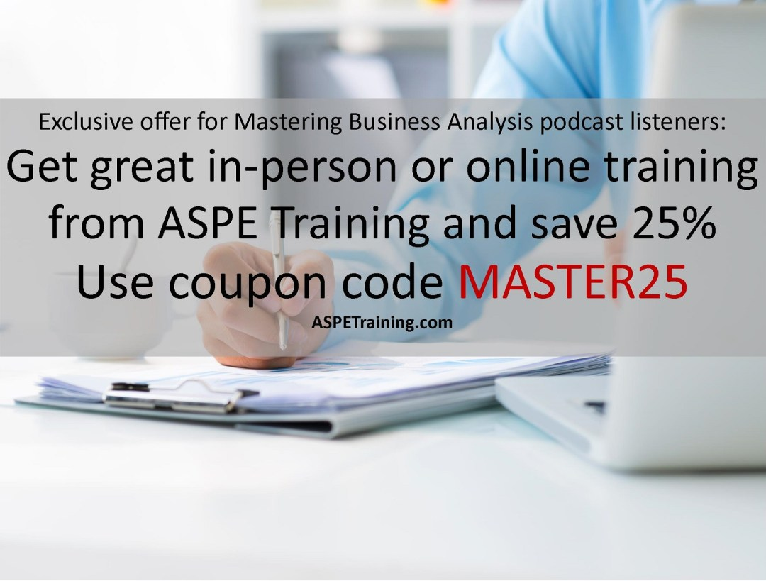 Get great in-person or online training from ASPE and save 25% using coupon code MBA25