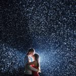 Lighting The Snow For A Night-Time Kiss In Winter