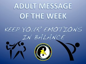 Cobourg Tae Kwon Do adult message of the week keep your emotions in check