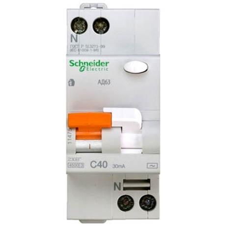 Дифавтомат Schneider Electric Домовой 2P 40А (C) 4.5кА 30мА (AC)
