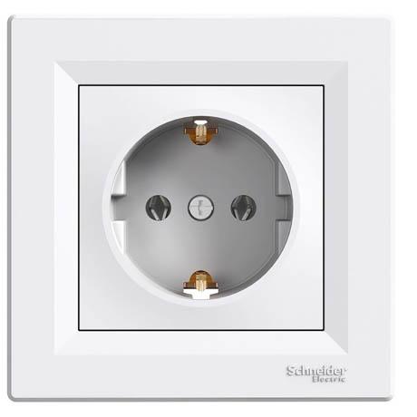 Розетка Schneider-Electric Asfora с заземлением белая