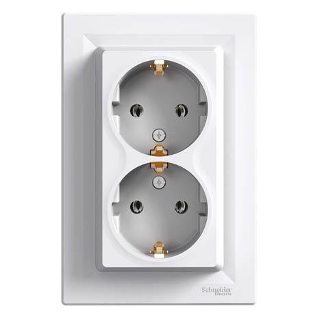 Розетка Schneider-Electric Asfora двойная с заземлением белая