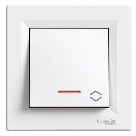 Переключатель Schneider-Electric Asfora 1-клавишный проходной с подсветкой белый