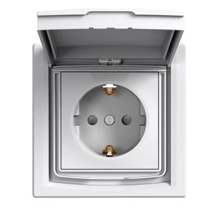 Розетка Schneider-Electric Asfora з кришкою IP44 заземленням біла