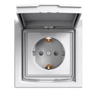 Розетка Schneider-Electric Asfora с крышкой IP44 заземлением белая