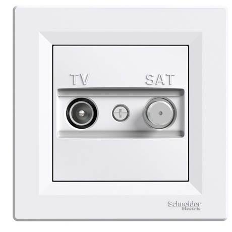Розетка Schneider-Electric Asfora TV-SAT одинарная (1 дБ) белая