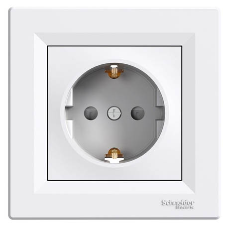 Розетка Schneider-Electric Asfora із заземленням і з/шторками біла